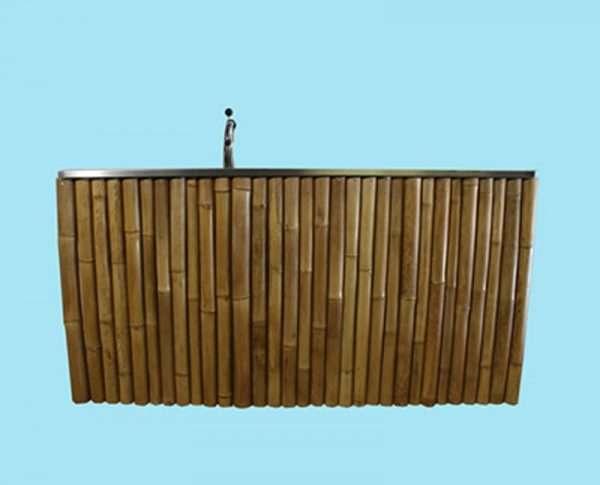 Mobiele bar bamboe 225 cm met tapinstallatie