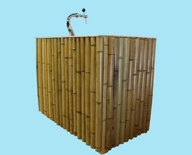 Mobiele bar bamboe 125 cm met tapinstallatie
