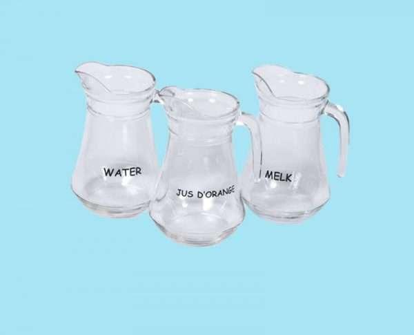 Glazen schenkkan blanco of opdruk