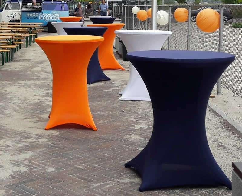 Tafels met stretchrok in diverse kleuren