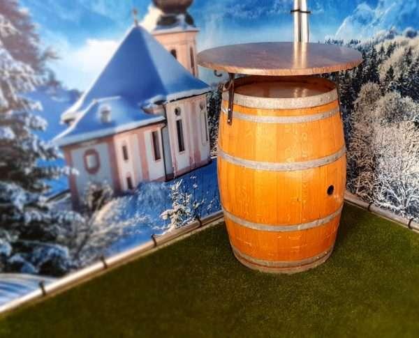 Wijnvat statafel in winters decor